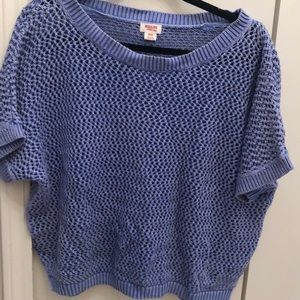 "Periwinkle short sleeve, ""mesh patterned"" sweater"